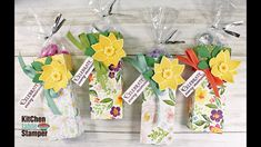 Stampin' Up! Pop of Petals Daffodil Treat Box Tutorial with Kitchen Table Stamper - YouTube