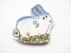bunny fabric brooch pin badge free motion by maxollieandme on Etsy, £9.00