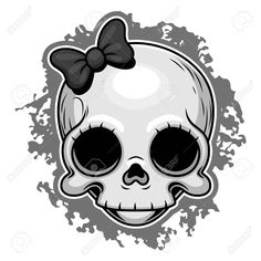 Illustration of Cute girl skull with ribbon. vector art, clipart and stock vectors. Girl Skull, Skull Art, Airbrush Art, Cute Cartoon Girl, Cartoon Art, Tattoo Design Drawings, Skull Drawings, Skull Coloring Pages, Gothic Tattoo
