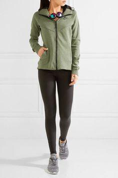 ce16b48deeba Nike - Tech Fleece Cotton-blend Jersey Hooded Top - Army green