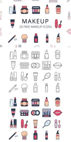 Free Makeup Vector Icon Set Free Kitchen Furniture and Equipment Vector Icon Set is a high quality collection of 20 icons. You can change the size without losing quality. Mini Drawings, Small Drawings, Doodle Drawings, Easy Drawings, Doodle Art, Icon Set, Griffonnages Kawaii, Vector Icons, Vector Free