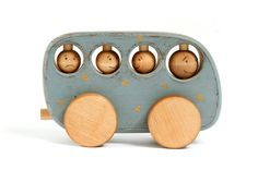Handmade Wooden Bus Push Toy. Too Cute! I can just see a little hand pushing that along.