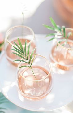 Blush, gold rim glasses with a leaf sprig | Wedding Reception Drink | Tropical Wedding Inspiration