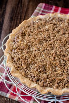 Crunchy streusel topping and homemade apple pie filling give this easy Apple Crisp Pie a delicious taste! Perfect fall dessert recipe!