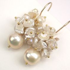 Ivory Pearl Cluster Earrings Gold Wire Wrapped Silvered Quartz Keishi Pearl Bridal Wedding Earrings Spring Fashion. $95.00, via Etsy.
