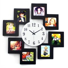 Cheap frame wall clock, Buy Quality wall clock directly from China photo frame wall clock Suppliers: Modern Creative Wooden Photo Frame Wall Clock Personality Decoration Mute Electronic Quartz Clocks Hanging Picture Frames, Hanging Pictures, Collage Frames, Frames On Wall, Staircase Wall Decor, Wall Watch, Family Photo Frames, Frame Crafts, Home Decor Furniture