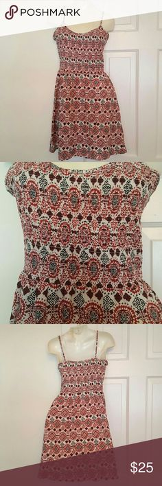 """H&M Beautiful Patterned Dress Cute and easy white, red and black patterned dress. Has a scrunchy top so it has a lot of stretch to accommodate all different sizes of chests. Straps are adjustable. Measures 24 1/2"""" from armhole down. A06 H&M Dresses"""