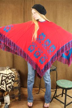70s Poncho Mexican Reversible Fringe Cape Free Size by ScarletFury, $52.00 Vintage clothing