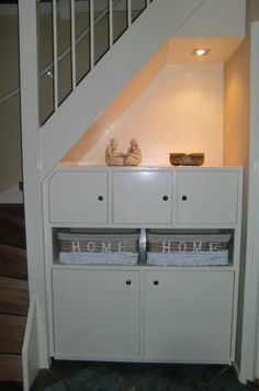 under stairs storage Stair Storage, Storage Shelves, Storage Ideas, Open Trap, Under Stairs Cupboard, Inspired Homes, Home Renovation, Sweet Home, New Homes