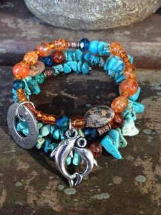 Free Spirit: thee wrap memory wire bracelet with metal stamped charm on Etsy, $30.00