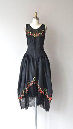 1920's Floral silk dress