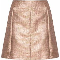 Rose Gold Jacquard A-line Skirt ($32) ❤ liked on Polyvore featuring skirts, gold, knee length a line skirt, a line skirt, jacquard skirt, high rise skirts and reversible skirt