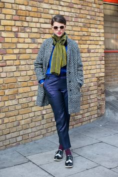 Street Style: The (Ultrachic) Women of Menswear Fashion Week : High-wattage prints (even on her coat) made this a layered-up look a success.