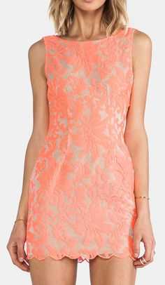 Ladakh Farrow Lace Dress in Neon Pink. Looks peach to me...