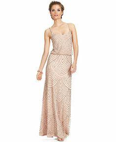 Adrianna Papell Petite Dress, Spaghetti-Strap Beaded Blouson Gown - Dresses - Women - Macy's