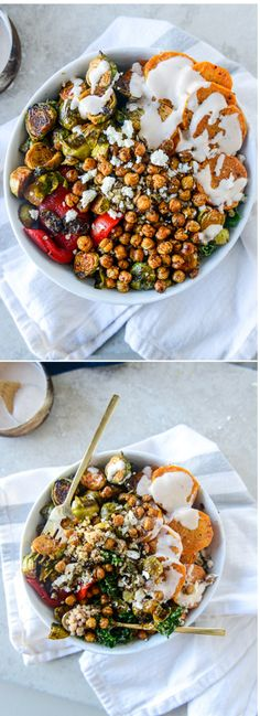Grain Bowls with Maple Brussels and Coconut Sweet Potatoes by @howsweeteats I howsweeteats.com