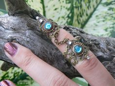 double armor ring chained ring statement ring Aqua Aquamarine knuckle ring claw ring
