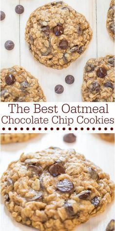 The Best Oatmeal Chocolate Chip Cookies - Averie Cooks Baking Recipes, Cookie Recipes, Oatmeal Chocolate Chip Cookies, Best Oatmeal, No Bake Desserts, Holiday Recipes, Food To Make, Delish, Sweet Treats