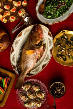 Recipe: Whole roasted fish with wild mushrooms. Photo: Andrew Scrivani for The New York Times