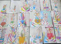 Complementary/analogous zebras art club. Dyed paper using chalk and water. Art club idea with instructions.