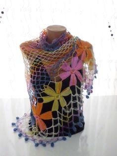Handmade Flower Mohair Triangle Shawl by kKnittedFashion on Etsy, $48.00