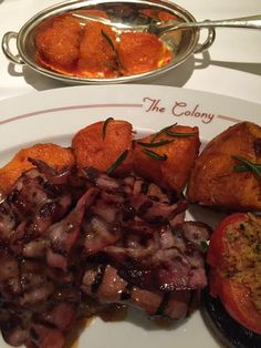 My lucky day: liver and bacon (caramelised onions underneath) with rosemary roast pumpkin @ColonyGrillRoom