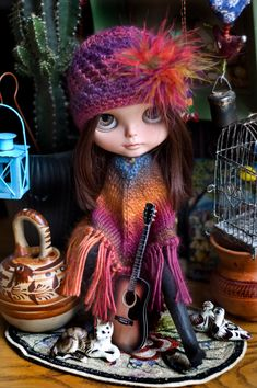 Sweet Music. Knitted 60's Poncho And Crocheted Cap For Blythe