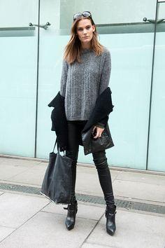 great grey knit. #LenaHardt #offduty in London.