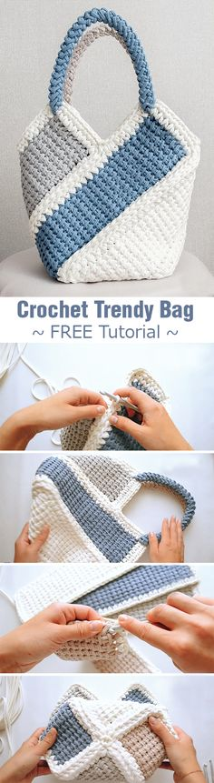 Trendy Bag HandBag Beautiful and very easy to make. Learn this crochet technique and create this gorgeous handbag.Beautiful and very easy to make. Learn this crochet technique and create this gorgeous handbag. Crochet Tote, Crochet Handbags, Crochet Purses, Filet Crochet, Crochet Gifts, Crochet Stitches, Knit Crochet, Crochet Baskets, Crotchet