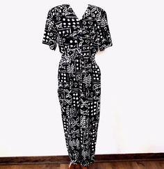 VTG 1980s George Georgiou 100% Silk Batik Cool Retro Romper Jumpsuit  Pockets  #GeorgeGeorgiou #JumpsuitPlaysuitRomper