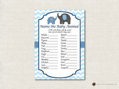 Elephant Name the Baby Animal Baby Shower by OakCityPaperCompany
