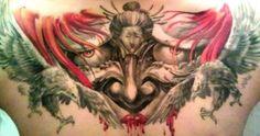 Chronic Ink tattoos, Toronto Tattoo - Hannya mask with red hair tattoo
