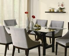 Cappuccino Wood Glass Top Dining Table $516