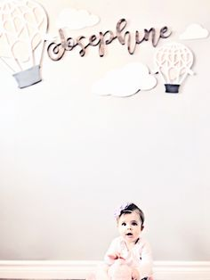 Adorable hot air balloon wall spread for sweet Josephine's nursery. Balloon Wall, Hot Air Balloon, Balloons, Whimsical Nursery, Nursery Wall Art, Farmhouse Style, Sweet, Handmade, Collection