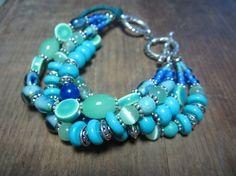 Boho Gypsy Style Chunky Turquoise Bracelet by BeadDazzlers on Etsy