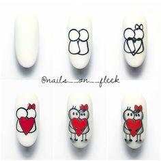 Get inspired 😍🔥 Reposted from ( - True love 💅🏼 Heart Nail Art, Heart Nails, Love Nails, Pretty Nails, Nail Drawing, Nail Art Techniques, Valentine Nail Art, Cute Nail Art Designs, Gel Nail Art