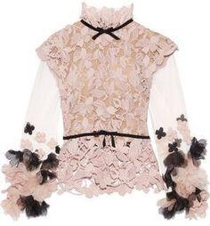 Reem Acra Floral-Appliquéd Tulle And Guipure Lace Top