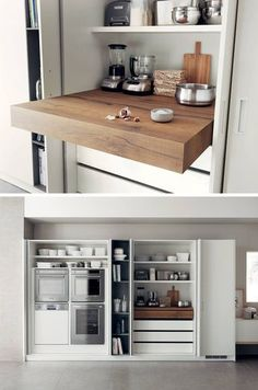 Kitchen Design Idea – Pull-Out Counters Kitchen Design Idea – Pull-Out Counters Pictures) // Pull-out counters are great for creating more space in a compact kitchen that can be closed up completely when it isn't being used. Hidden Kitchen, Kitchen Pantry, New Kitchen, Kitchen Storage, Kitchen Decor, Kitchen Cabinets, Kitchen Ideas, Kitchen Counters, Kitchen Worktop