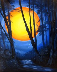 When the sun goes down, you can stop on in at Pinot's Palette to paint Hilltop Sunset! #sunsetpainting #treepaintings
