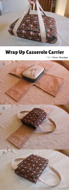 Wrap Up Casserole Cover - Easy Sewing For Beginners This wrap up casserole carrier is a very easy sewing project for beginning sewers Easy Sewing Projects, Sewing Projects For Beginners, Sewing Hacks, Sewing Tutorials, Sewing Crafts, Sewing Tips, Project Projects, Sewing Basics, Christmas Sewing Projects
