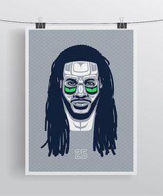 Russell Wilson Portrait art print poster 18 x 24 Seattle Seahawks ...