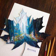 nature art Artist Joanna Wirazka uses fallen leaves as canvases to create beautiful landscapes artworks Arte Gcse, Art Et Nature, Nature Artwork, Nature Artists, Gcse Art Sketchbook, Sketchbook Ideas, Creative Landscape, Landscape Design, Watercolor Art