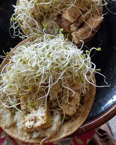 Quick and easy snack or meal. Tortilla wrap with pesto tofu and topped with spicy sprouts. Yummy!  #easysnack #easymeal #onmyplate #quickrecipe #tofurecipes