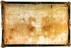 Photograph of the Sudarium of Oviedo, kept inside a museum, next to the Cathedral of Oviedo, in Oviedo, Spain.