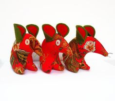 Christmas RED Vintage fabric Mouse  £9.00