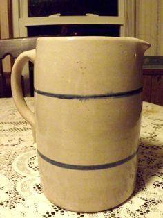 Antique salt glaze crock stoneware pitcher