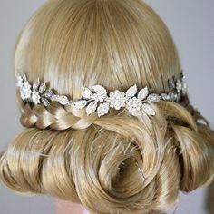 Wedding Headpiece Bridal Hair Accessory Headband with Swarovski Crystal Leaf Hair Vine LAYNE