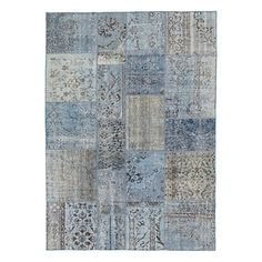 Tapis Anatolian Patchwork bleu clair en laine