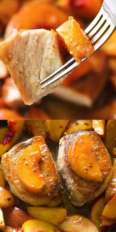 Peach Pork Chops are the perfect combination of sweet and savory. An easy and beautiful one pan meal ready in just 30 minutes. Pork Chop Recipes, Fish Recipes, Meat Recipes, Chicken Recipes, Cooking Recipes, Pork Chop Meals, Potato Recipes, Casserole Recipes, Pasta Recipes