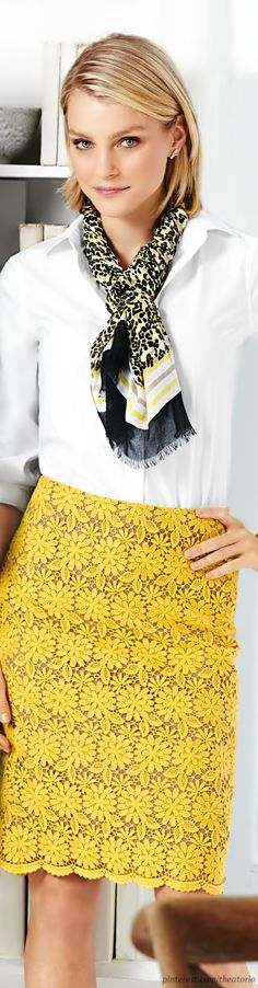 Love the skirt and the scarf.  Talbots  ● SS 2014.  Via @theatoria. #skirts #lace